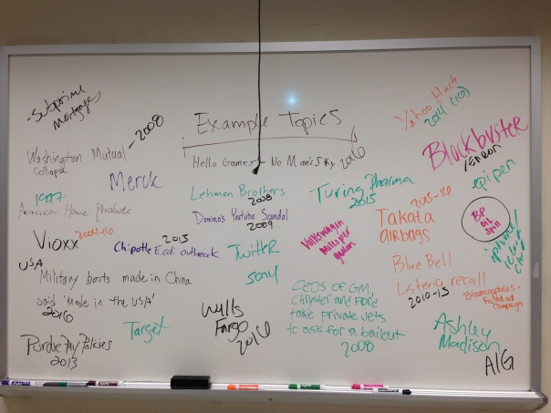 Whiteboard topic ideas 2016